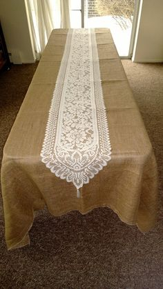 Does not come with burlap shown in the picture Elegant and simple, would be the two words that would best describe our ivory lace table runner. Great for weddings, showers, and parties.
