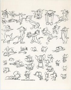 Model sheets of Chuck Jones' iteration of Tom and Jerry. c. late 1960s. via classicanimationart: