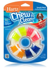 Hartz® Chew 'n Clean®  Teething Ring™ Small / Medium - Combines dental cleaning and fun! The bacon scent keeps dogs interested while the raised tips massage gums and help remove tartar. Excellent for puppies and tough chewers.