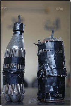 parts from home made devices used for bombs by rebels in Syria.  Look at the nails taped to the bottles that will go flying when the explosion happens :(