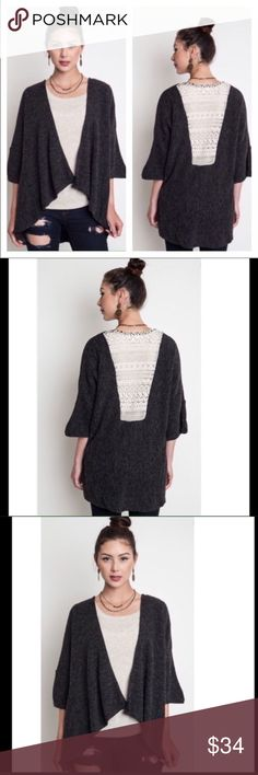 Charcoal Gray Cardigan with Crochet Lace Back Open front cardigan with a white lace back. umgee Sweaters Cardigans