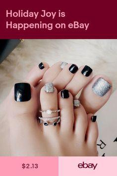 Black False Glue On Fake French Natural Toe Nail Acrylic Toe Nail Tips Art - Ongles 02 Frensh Nails, Acrylic Toe Nails, Black Toe Nails, Cute Toe Nails, Feet Nails, Pedicure Nails, Toe Nail Art, Acrylic Nail Designs, Nail Art Designs