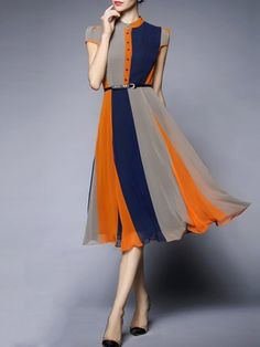 Blue Color-block Short Sleeve A-line Stand Collar Midi Dress
