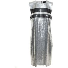 Paco Rabanne Chainmail Mini Dress ($3,270) ❤ liked on Polyvore featuring dresses, chain mail dress, short dresses, white stripe dress, white mini dress and paco rabanne dress