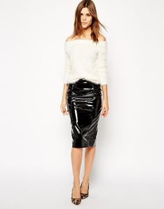 Make a statement in this ASOS Pencil Skirt In Patent PU