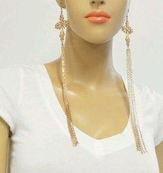 Trendy Fancy Cross Chain Gold Fashion Earrings
