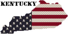Cross stitch pattern of the state of Kentucky using Weeks Dye Works and DMC floss.