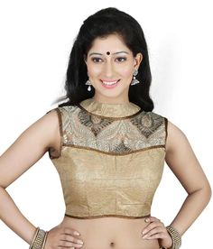 Naksh - Designer Shimmer And Net Readymade Blouse In Gold