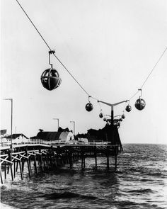 July 19, 1958: Aerial tram skyride at the pier on Pacific Ocean Park.(Photo by the Los Angeles Public Library via Water and Power Associates)