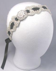 Crystal Rhinestone Headband Wedding White / by LoveForeverBridal