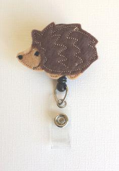 Hedgehog Felt Badge Reel  Retractable ID by SimplyReelDesigns, $6.00