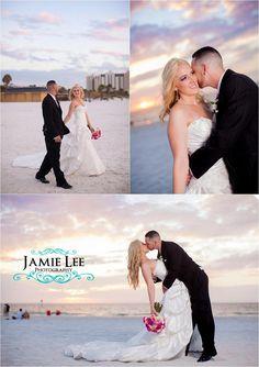 Hyatt Regency Clearwater Beach Wedding sunset - Autumn and Justin - Elegant Pink Crystals