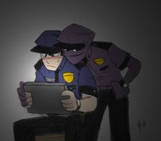 Purple Guy: Hay there Mikey. Mike: Don't call me Mikey, bitch. I know what you did to those kids Freddy S, Five Nights At Freddy's, Fnaf Mike Schmidt, Vincent Fnaf, Fnaf Security Guards, Fnaf Night Guards, William Afton, Funny Comic Strips, Freddy Fazbear
