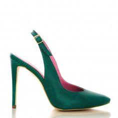 pantofi decupati la spate 1703 presaj verde Leather Shoes, Glamour, Heels, Fashion, Green, Sandals, Leather Loafers, Leather Pumps, Moda