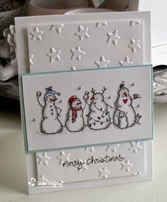 snowmen ~ handmade Christmas or winter card                                                                                                                                                      More