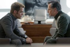 Kirk (Chris Pine) and Admiral Pike (Bruce Greenwood) in Star Trek Into Darkness