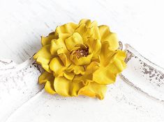 Bright yellow leather flower brooch - inspiration