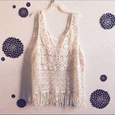 Crochet Fringe Top + boutique find + details to come Tops Tank Tops