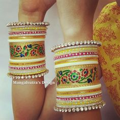 Ethnic chura !! Indian Accessories, Hand Accessories, Bridal Accessories, Wedding Jewelry, India Jewelry, Ethnic Jewelry, Gold Bangles, Bangle Bracelets, Bridal Bangles