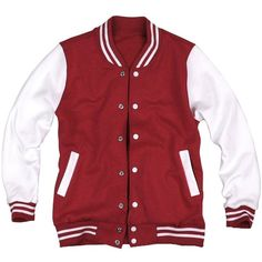 ililily Varsity Jacket American Baseball Club College School Jersey... ($35) ❤ liked on Polyvore featuring outerwear, jackets, tops, blazer, varsity bomber jacket, red letterman jacket, college jackets, american jacket and varsity baseball jacket