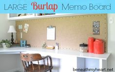 Decorative Burlap Memo Board ~ easy DIY with great pics to explain