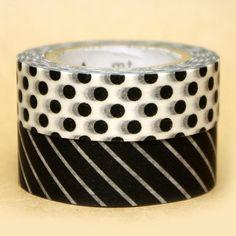 mt Washi Masking Tape - Black & White Dots and Stripes - Set 2