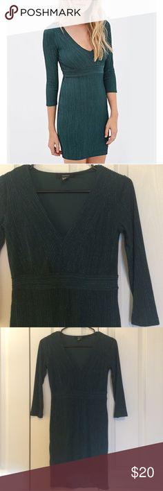 Metallic Threaded Knit Dress Emerald green bodycon dress from forever 21. NWOT Forever 21 Dresses Mini