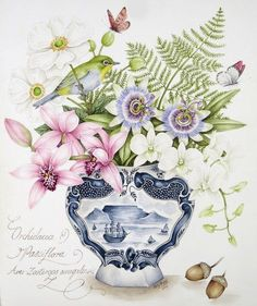 Original painting by Kelly Higgs. Cymbidium and Dendrobium Orchids with Passionflowers, Japanese Anenomes and fern, in a Delft pot. Cape White-eye acorns and butterflies. Art Floral, L'art Du Fruit, Fruit Art, Art And Illustration, Illustrations, Photo Vintage, Vintage Diy, Botanical Drawings, Botanical Prints