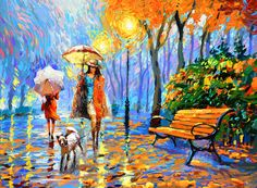 Golden Autumn - oil Painting with Palette Knife on Canvas by Dmitry Spiros. Size: cm x 90 cm) Oil painting by Dmitry Spiros Old Paintings, Original Paintings, Umbrella Art, Diy Artwork, Palette Knife Painting, Autumn Painting, Acrylic Painting Canvas, Large Wall Art, Abstract Art