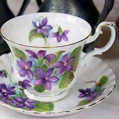Royal Albert Purple Violet Vintage English Teacup Have something similar. Antique Tea Cups, Vintage Cups, Vintage China, Cup And Saucer Set, Tea Cup Saucer, Purple Tea Cups, Teapots And Cups, Teacups, Sweet Violets