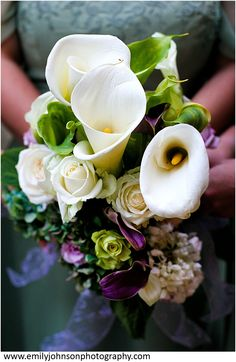 Calla lily and rose bridesmaid bouquets