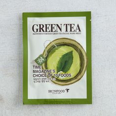 """SKINFOOD Everyday Green Tea Facial Mask Sheet it's for """"everyday"""" but fuck this mask. dries easily and I mask no more than 2-3 times a week cause. has weird texture pattern too like paper towels. GIVE ME THE MOISTURE JFC. 5/10 Edit: it does say it does a cooling thing and that was true, non greasy, 6/10 but still go save ur money for more luxurious masks 6/12/2016"""
