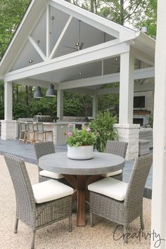 Kitchen and Pool House Project Reveal Outdoor kitchen and pool house pavilion.Outdoor kitchen and pool house pavilion. Outdoor Pergola, Outdoor Rooms, Outdoor Furniture Sets, Outdoor Decor, Gazebo, Adirondack Furniture, Outdoor Kitchens, Pergola Kits, Wooden Furniture