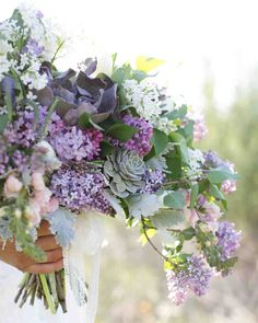 Purple Wedding Flowers Floral design by Intertwine, Bridal bouquet of lavender and white lilacs, dusty miller, succulents, snapdragons Floral Wedding, Wedding Colors, Lilac Wedding Flowers, Trendy Wedding, Wedding Bouquets With Succulents, Greenery Bouquets, Wedding Lavender, Blue Wedding, Light Purple Wedding