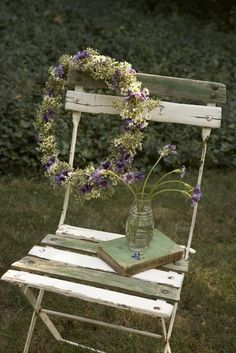 antique, book, chair, flowers, nature, outdoors, purple, seasons, spring, still life, wreath