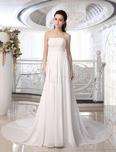 Ivory A-line Strapless Wedding Dress With Beading - Milanoo.com