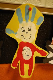Read Across America .....thing 1 and 2 handprint craft
