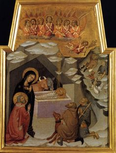 Bartolo di Fredi (Siena, 1330-1410) ~ Nativity and Adoration of the Shepherds ~ 1383 ~ Vatican Museums ~ Bartolo di Fredi was commissioned to paint this panel by the Company of Saint Peter on May 9, 1383, for the Chapel of the Annunciation in the Church of S. Francesco in Montalcino, where the artist had already painted other works. The polyptych has since been broken up, and parts of it can be seen in various museums. This piece is in the Pinacoteca Vaticana.