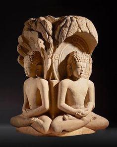 Shrine with Four Jinas (Rishabhanatha [Adinatha]), Parshvanatha, Neminatha, and Mahavira) India, Uttar Pradesh, circa 600 Sculpture Sandstone