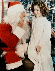 "Shirley Temple and Santa. ""I stopped believing in Santa Claus when I was six. Mother took me to see him in a department store and he asked for my autograph."" ~ Shirley Temple"