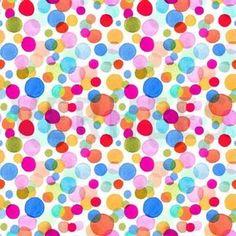 Bilde av Colourful Circles - 15-35 flerfargete prikker på hvit bomullsjer
