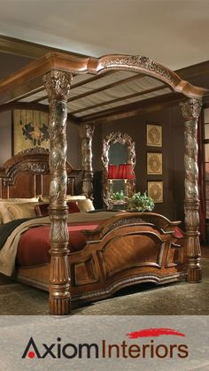 carved brown high gloss finish canopy bed with footboard and headboard combined with maroon bed linen appealing queen canopy bed curtains for comfortable
