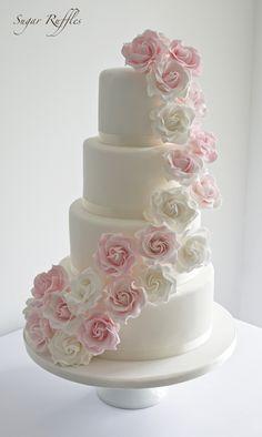 Tier Wedding Cakes Tumbling Flowers