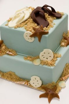Sand dollars, starfish and beach sand - blue cake with flip flop sandals on top!