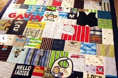 memory quilt of baby clothes
