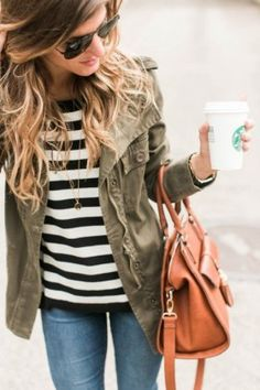 green jacket + stripes + denim