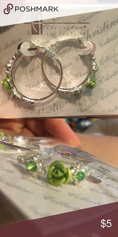 3 for $12 NWT Christina Collection Hoop Earrings Christina Collection Hoop Earrings. Silver and green. NWT. Boutique Jewelry Earrings