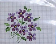 simple spray of violets Mini Cross Stitch, Simple Cross Stitch, Cross Stitch Flowers, Easy Cross Stitch Patterns, Cross Stitch Charts, Cross Stitch Designs, Christmas Embroidery Patterns, Hand Embroidery Designs, Cross Stitching