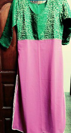 Designer #kurti #green #pink