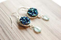 Druzy Stone Earrings Druzy and Apatite Blue Stones Nautical
